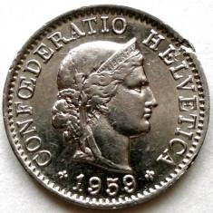 ELVETIA, 5 RAPPEN 1959, Europa, Crom