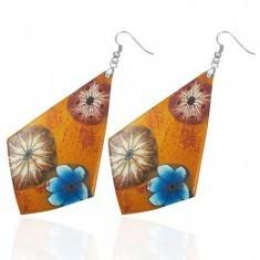 Cercei FIMO - culoare portocalie, flori