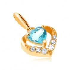 Pandantiv din aur 375 - contur zirconiu inimă, topaz albastru în formă de inimă - Pandantiv aur