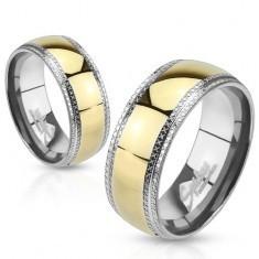 Inel tip bandă din oţel, bandă aurie, margini mai coborâte, linii cu adâncituri - Inel argint
