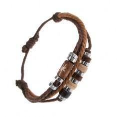 Brățară ajustabilă din șnururi maro și negre, mărgele din oțel și lemn - Bratara prieteniei