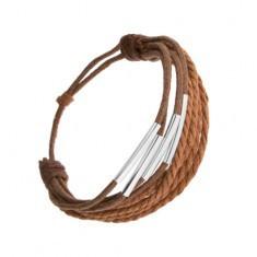 Brățară șnur, scorțișoară și maro închis, tuburi subțiri din oțel - Bratara prieteniei