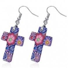 Cercei Fimo - cruce albă cu flori violet, zircon