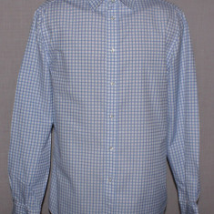 Camasa barbati H&M HM alba cu carouri albastre slim fit marimea M, Marime: M, Maneca lunga