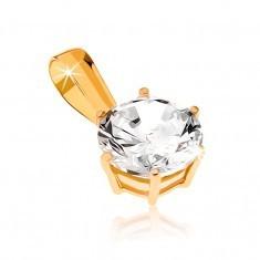 Pandantiv din aur galben 9K - zirconiu strălucitor, rotund - Pandantiv aur