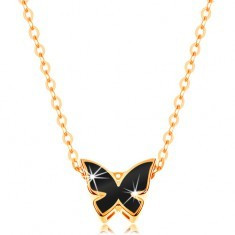 Colier din aur de 14K - lanţ lucios, fluture decorat cu email negru - Colier aur