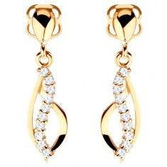 Cercei din aur 585 - contur lacrimă asimetrică și val cu zirconii transparente - Cercei aur, 14k