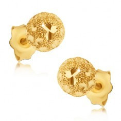 Cercei din aur 585 - bile sablate cu boabe lucioase - Cercei aur, 14k