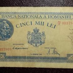 ROMANIA 1944 - BANCNOTA DE 5000 LEI VF CIRCULATA (10 OCTOMBRIE) - Bancnota romaneasca