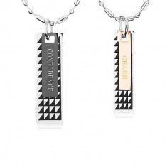 Două coliere din oțel, plăcuțe negre cu triunghiuri și inscripție - Colier inox