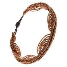 Brățară împletită din șnur de culoare maro-aurie, model valuri - Bratara prieteniei