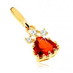 Pandantiv din aur 585 - triunghi granat roşu, zirconii transparente strălucitoare - Pandantiv aur