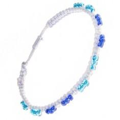 Brățară din fir bleu deschis, împletită, mărgele albastre și albastru deschis - Bratara prieteniei