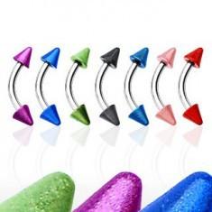 Inel sprânceană cu două țepușe colorate - Piercing spranceana