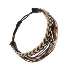 Brățară împletită formată din șnururi maro, negre și bej, mărgele din oțel - Bratara prieteniei