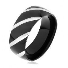Bandă din oţel negru, suprafață lucioasă decorată cu caneluri oblice - Inel inox