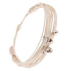 Brățară din multiple șnururi alb-crem, mărgele și clopoței - Bratara prieteniei