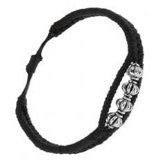 Brățară realizată din șnururi negre, patru decorații cu striații rotunde - Bratara prieteniei