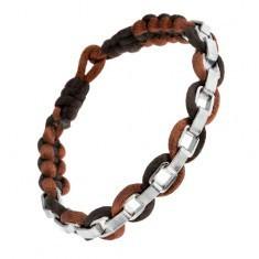Brățară împletită din șnururi cu lanț din oțel, culoare maro și neagră - Bratara prieteniei