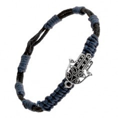 Brățară împletită - șnururi albastre și negre, pandantiv în formă de mână Budistă - Bratara prieteniei
