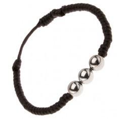 Brățară neagră realizată din șnur răsucit, trei bile de culoare argintie - Bratara prieteniei