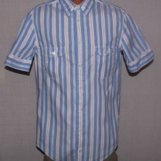 Camasa barbati H&m HUGO BOSS Orange Label maneca scurta marimea S albastra cu dungi, Marime: S, Culoare: Albastru, Maneca lunga