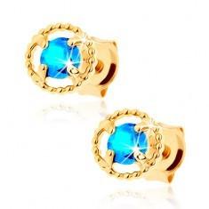 Cercei în aur galben de 9K - contur cerc striat, topaz albastru - Cercei aur