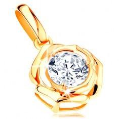Pandantiv din aur 585 - trandafir lucios cu zirconiu rotund, transparent în mijloc - Pandantiv aur