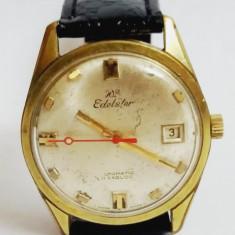 Edelstar Automatic Incabloc 21 jewels Swiss Made - Ceas barbatesc, Elegant, Mecanic-Automatic, Placat cu aur, Data, Analog