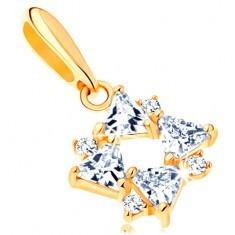 Pandantiv din aur 585 - zirconii transparente în formă de triunghi şi zirconii mici rotunde - Pandantiv aur
