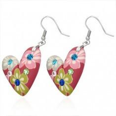 Cercei Fimo - inimă roşie cu model floral
