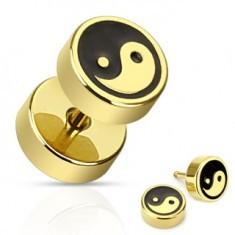 Plug fals din oţel - Ying şi Yang cu negru şi auriu