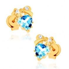 Cercei din aur 375 - inimă topaz albastru cu fundiţă - Cercei aur, 9K