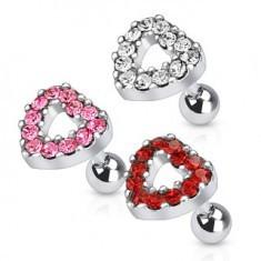 Piercing pentru ureche din oţel - inimă cu zirconiu - Piercing ureche