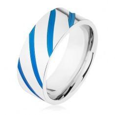 Bandă din oţel argintiu, dungi diagonale, smalț albastru - Inel inox