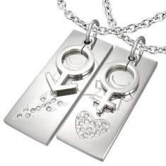 Coliere pentru îndrăgostiți - dreptunghi cu simbol feminim și masculin pe lănțișoare - Colier inox