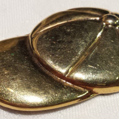 BROSA argint placata cu AUR Basca de Baseball vintage IMPECABILA