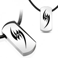 Colier pe șnur din cauciuc - simbol tribal din oțel - Colier inox