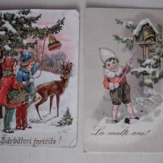 SARBATORI FERICITE, LOT 5 CARTI POSTALE INTERBELICE, Ambele, Printata, Romania 1900 - 1950