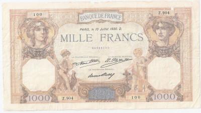 FRANTA 1000 FRANCS FRANCI CERES ET MERCURE 10-07-1930 U foto