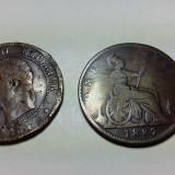 2 MONEDE - 10 CENTIMES NAPOLEON III 1864 - 0NE PENNY REGINA VICTORIA 1887, Europa