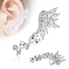 Cercel pentru o ureche, oțel inoxidabil argintiu, zirconii transparente - Piercing ureche