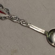 Lingurita argint cu Sabie cruce in email Veche executata manual Splendida Rara