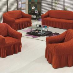 Set huse creponate si elastice canapea si fotolii 3+1+1 Caramiziu