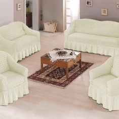 Set huse creponate si elastice canapele si fotoliu 3+2+1 Crem