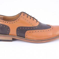 Candrani Oxford Peru Coniac cu Peru TDM - Pantofi barbat Candrani, Piele naturala