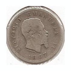 Italia 1 Lira 1867 - Vittorio Emanuele II, Argint 5 g/835, 23 mm KM-5a.1, Europa