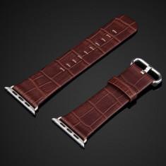 Curea ceas Apple watch 42mm, piele naturala apect croco, cu adaptoare, MARO INCHIS - Curea ceas piele