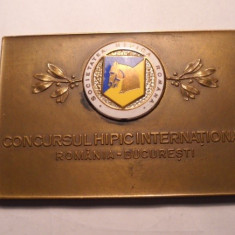 Placheta Societatea Hipica Romana Concursul Hipic International Bucuresti 1939 - Medalii Romania