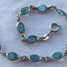Bratara argint Vintage cu pietre albastre Topaz ? Finuta Delicata de Efect